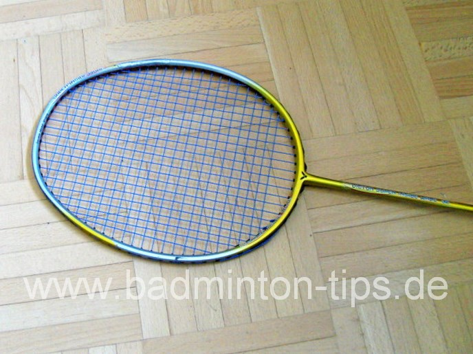 Reparierter Racket - Badmintontraining auf www.badminton-tips.de